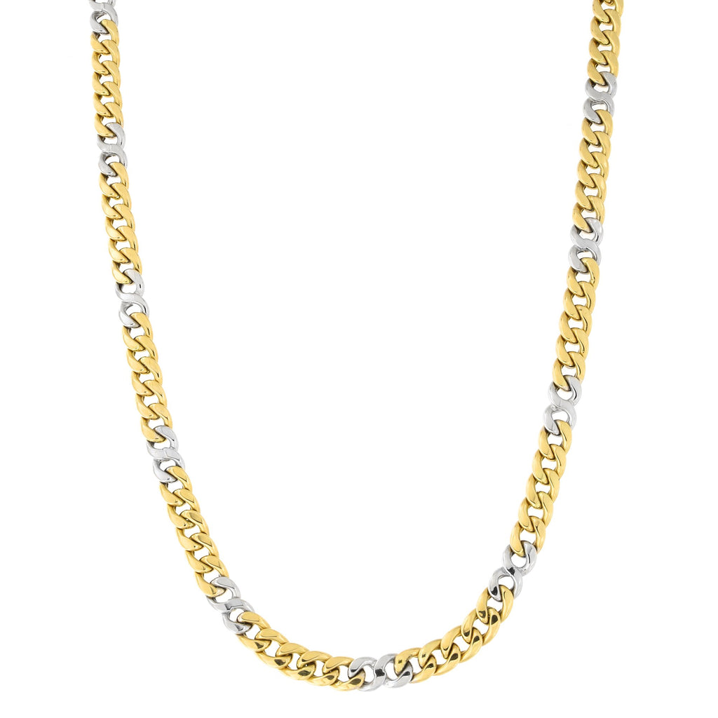 Mens' 14k Yellow and White Gold Two-Tone 7.2mm Miami Cuban Chain Necklace, 22 inches