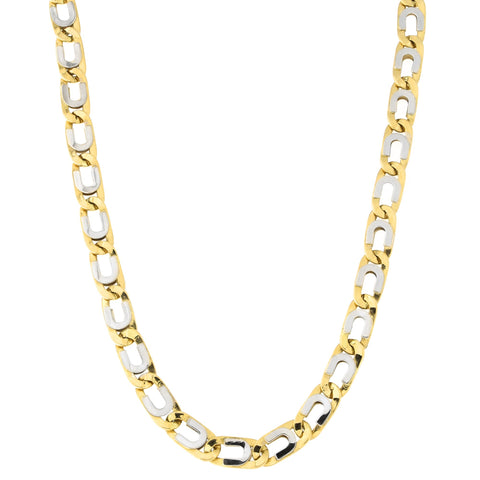 Mens' 14k Yellow and White Gold Two-Tone 7.6mm Fancy Link Chain Necklace, 22 inches