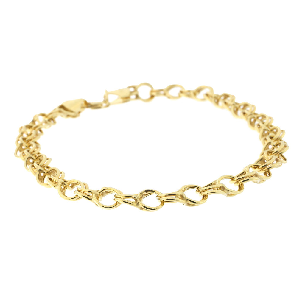 10k Yellow Gold Double Link Charm Bracelet, 7.25""