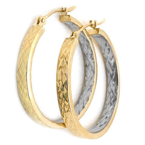 10k Yellow and White Gold Two-Tone Diamond Cut Hoop Earrings