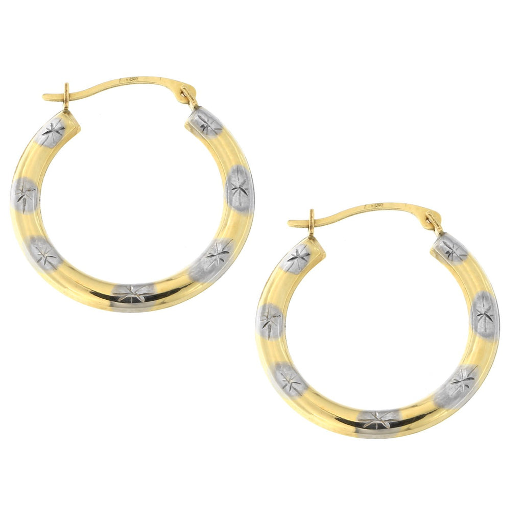 10k Yellow and White Gold Two-Tone Striped Diamond Cut Hoop Earrings