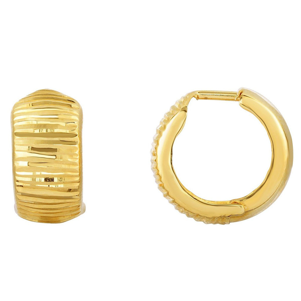 10k Yellow Gold Lined Reversible Huggie Hoop Earrings
