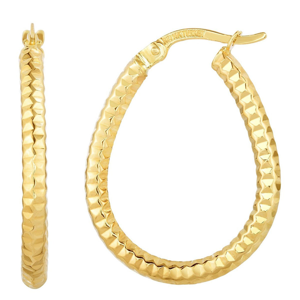 10k Yellow Gold Diamond Cut Teardrop Hoop Earrings