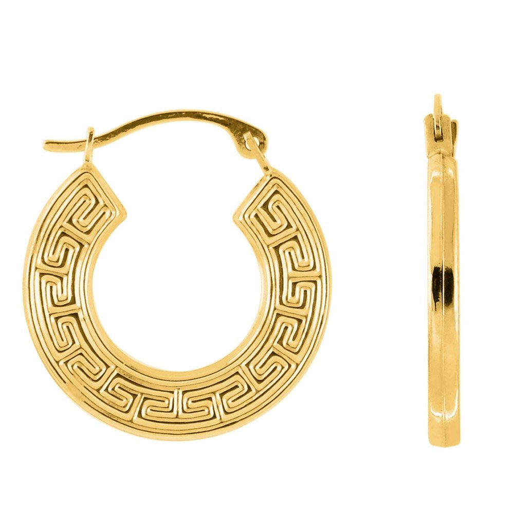 10k Yellow Gold Greek Key Hoop Earrings