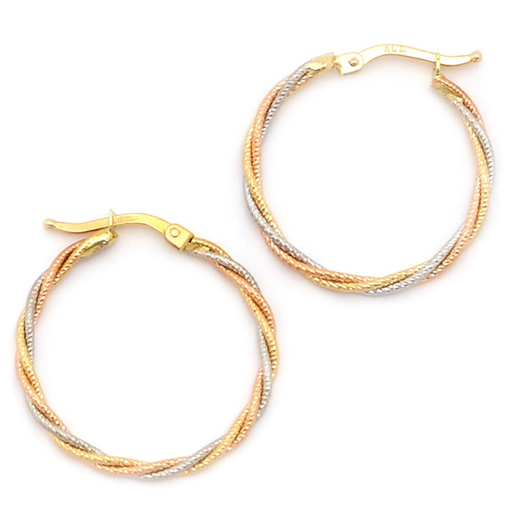 10k Yellow, White and Rose Gold Tri-Color Interlocking Hoop Earrings