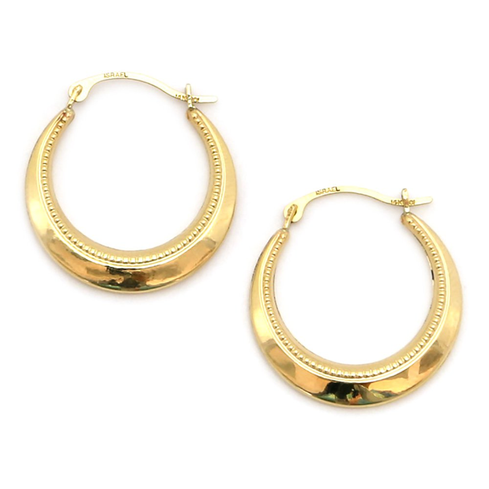 10k Yellow Gold Dotted Hoop Earrings