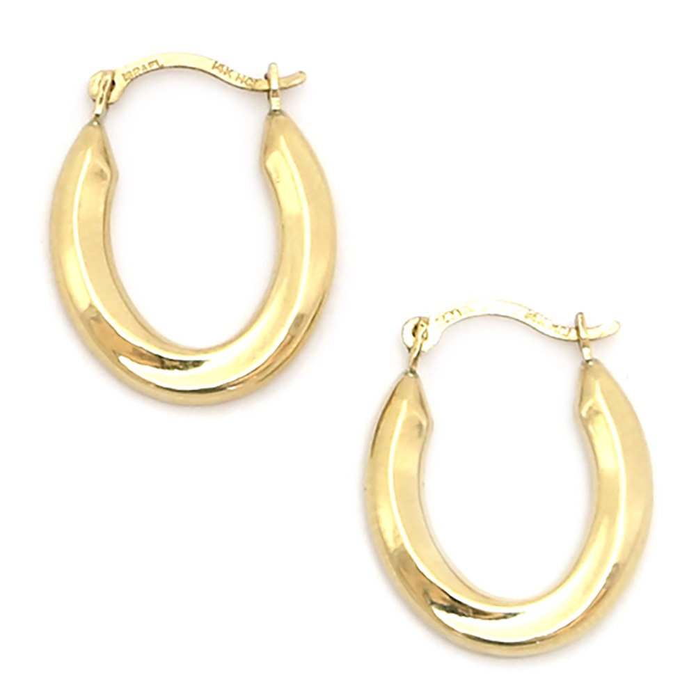 10k Yellow Gold Thick Oval Swirl Hoop Earrings