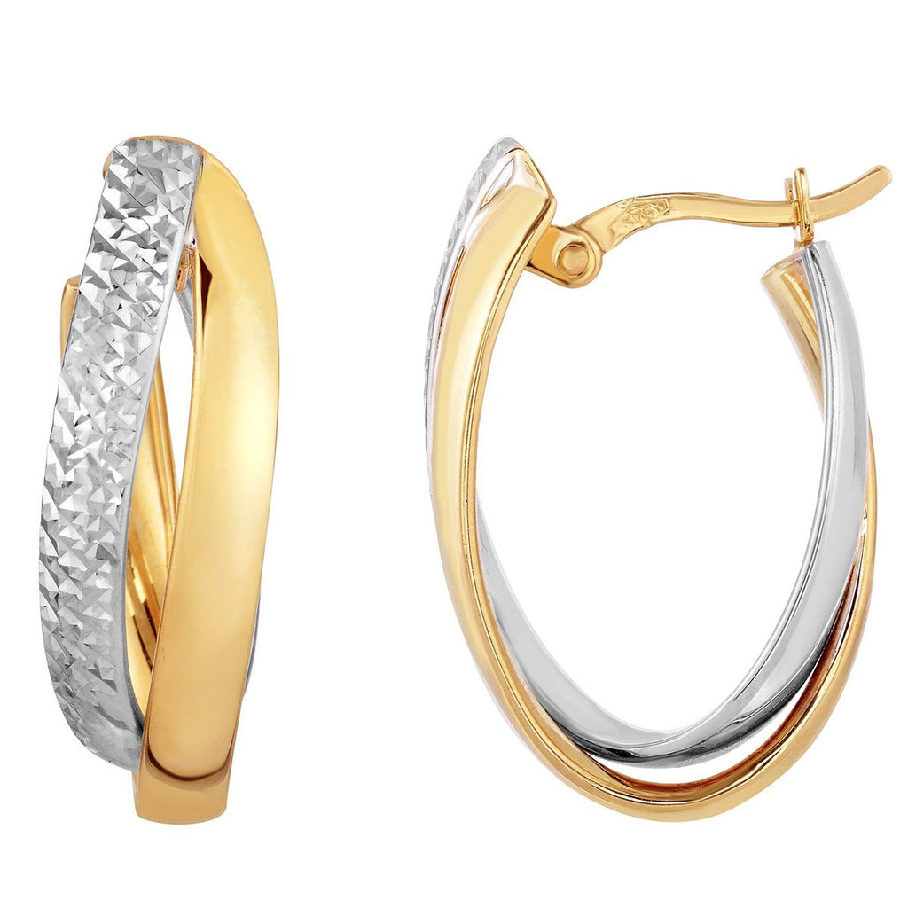 10k Yellow and White Gold Two-Tone Diamond Cut Interlocking Huggie Hoop Earrings