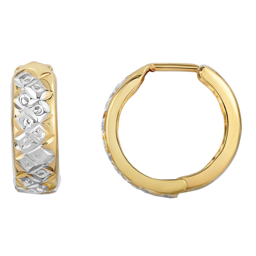 10k Yellow and White Gold Two-Tone Diamond Cut Reversible Huggie Hoop Earrings
