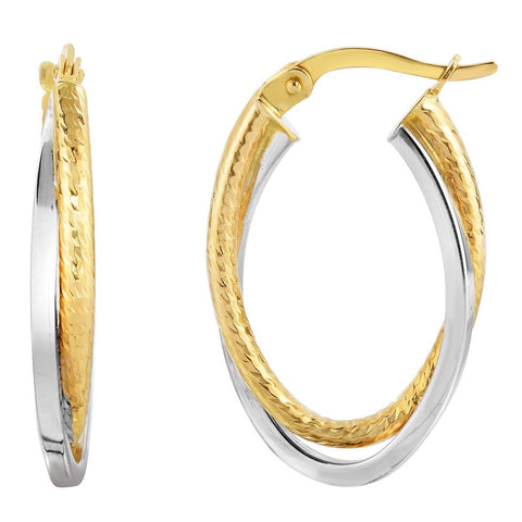 10k Yellow and White Gold Two-Tone Interlocking Oval Hoop Earrings