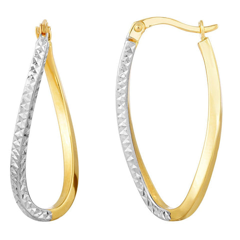10k Yellow and White Gold Two-Tone Diamond Cut Curved Oval Hoop Earrings