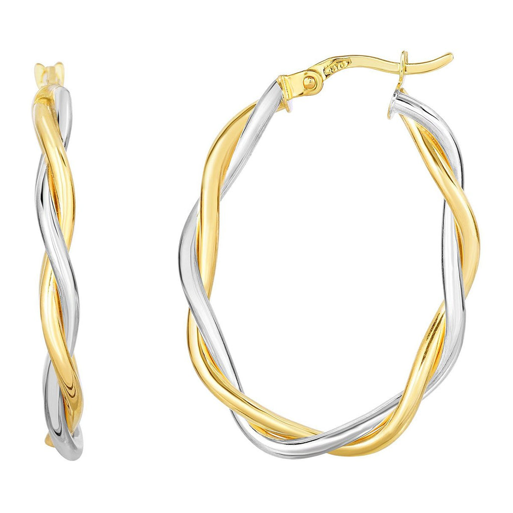 10k Yellow and White Gold Two-Tone Twisted Oval Hoop Earrings