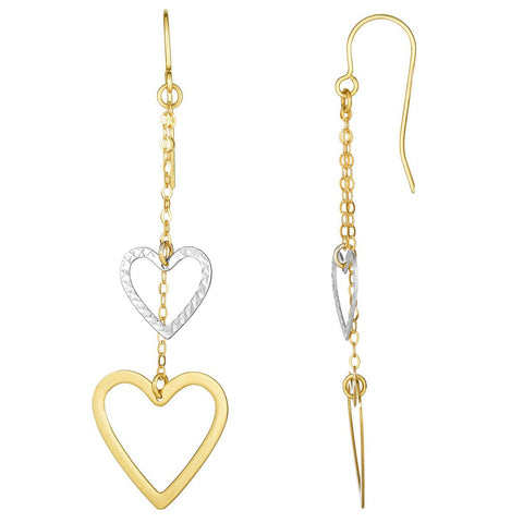 10k Yellow and White Gold Two-Tone Open Heart Chain Dangle Earrings