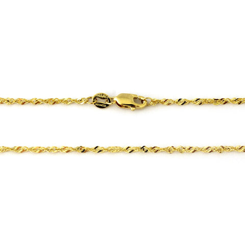 "14k Yellow Gold 2.1mm Singapore Adjustable Chain Anklet, 9""-10"""