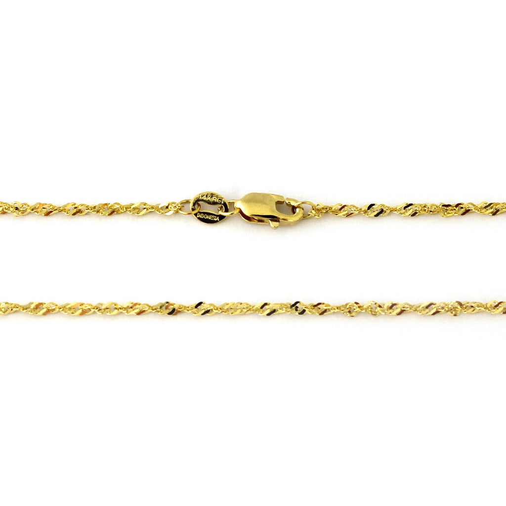 14k Yellow or White Gold 2.1mm Singapore Chain Bracelet, 7""