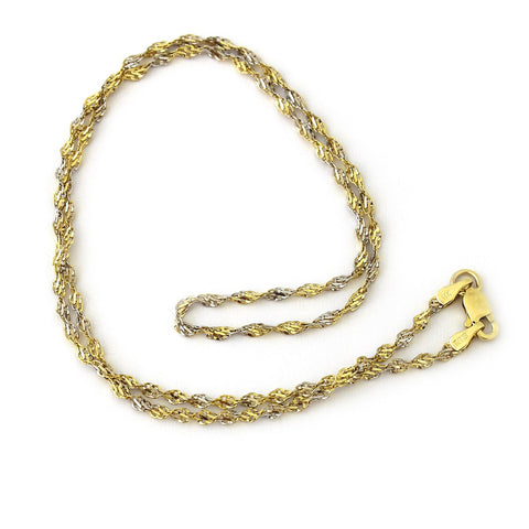 Beauniq 14k Yellow and White Gold Two-Tone 2mm Singapore Chain Necklace, 16""