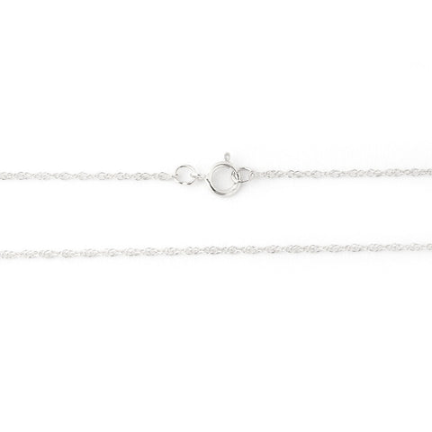 Beauniq 14k White Gold 1.1mm Rope Chain Necklace, 16""