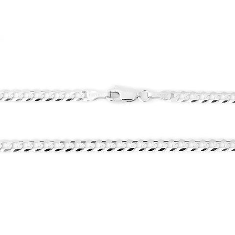Men's Solid 14k White Gold 3.6mm Comfort Cuban Curb Chain Bracelet, 7""