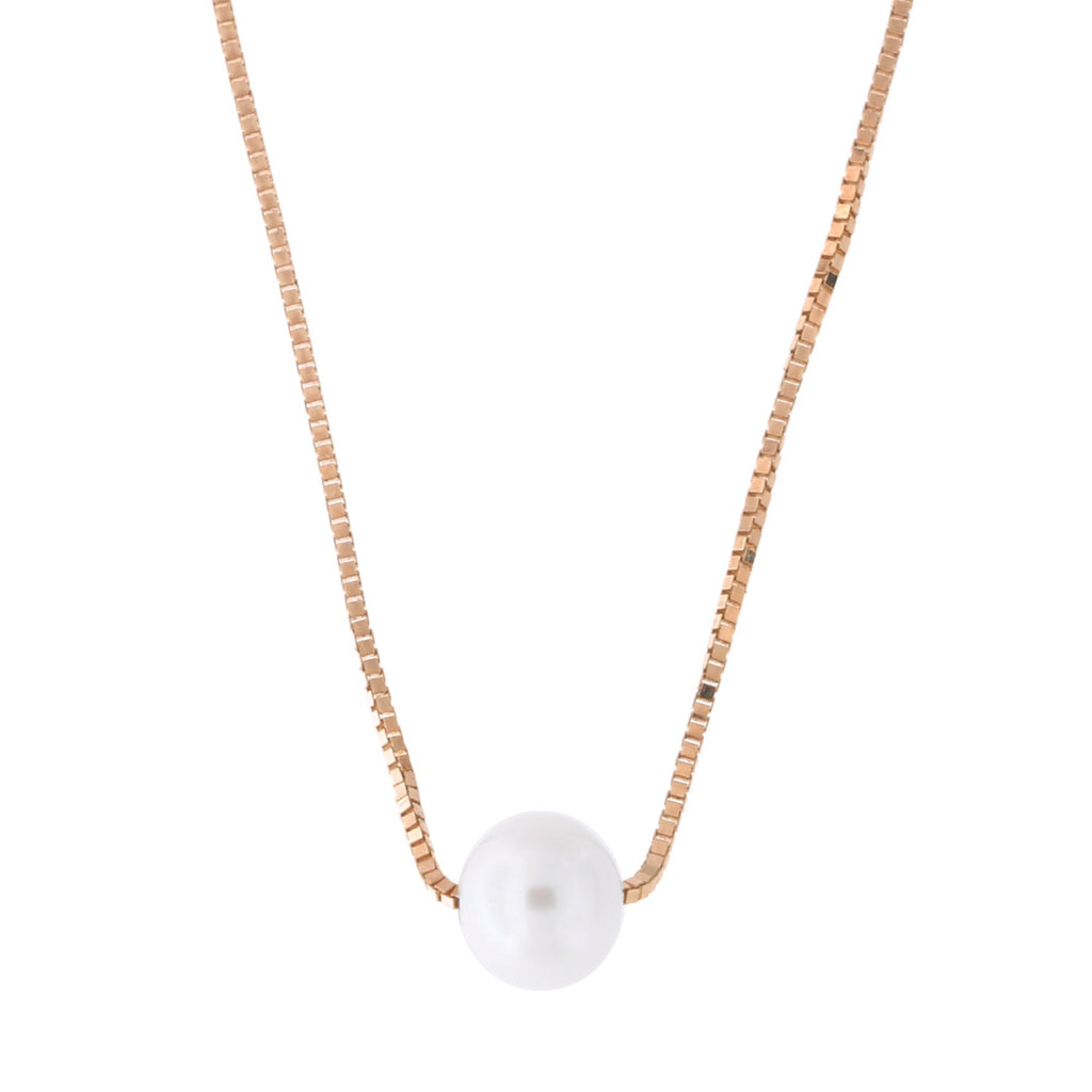 14k Yellow, White or Rose Gold Box Chain 5mm White Freshwater Cultured Pearl Necklace