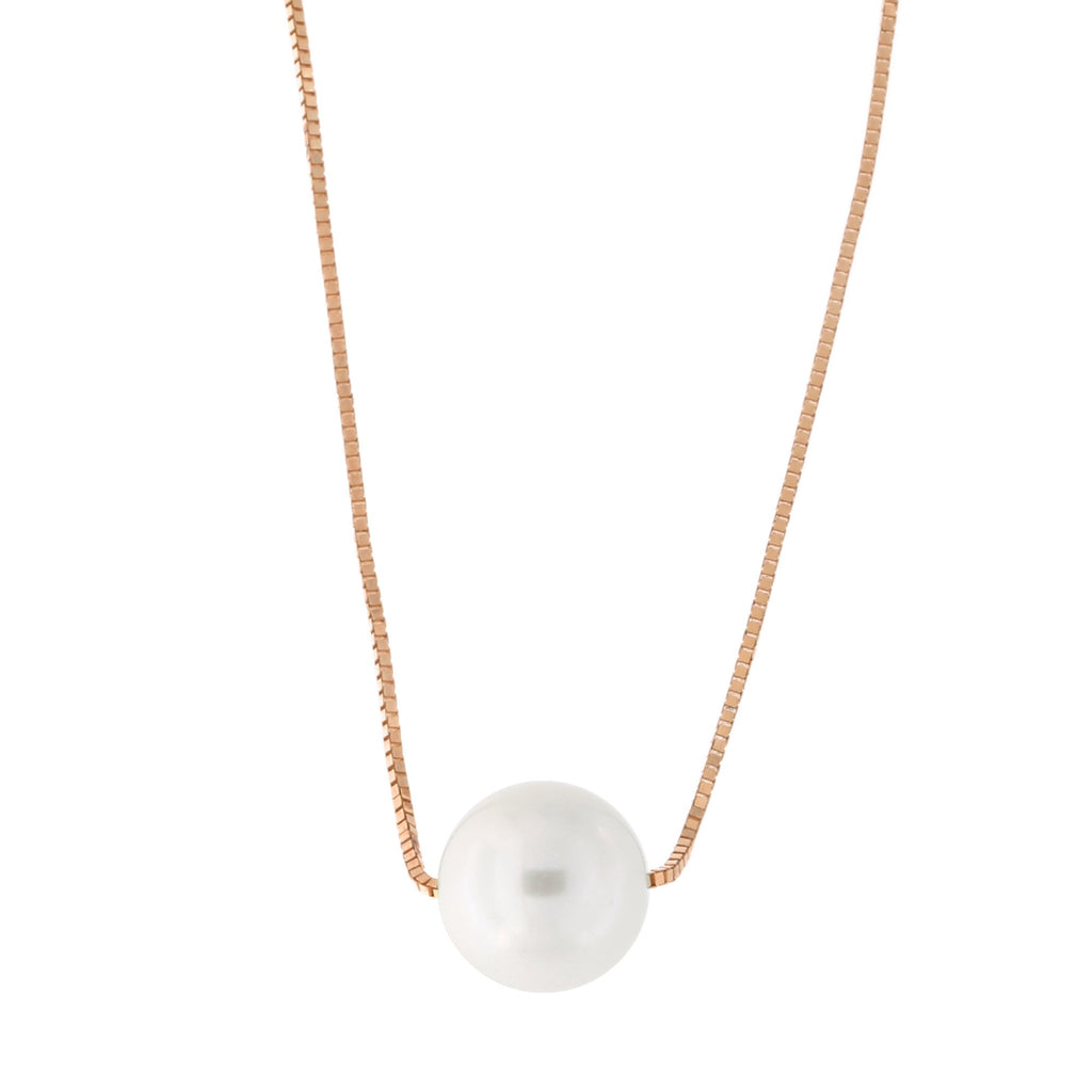 14k Yellow, White or Rose Gold Box Chain 7mm White Freshwater Cultured Pearl Necklace