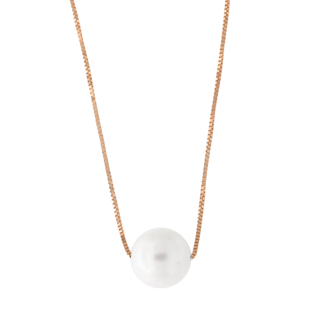 14k Yellow, White or Rose Gold Box Chain 8mm White Freshwater Cultured Pearl Necklace