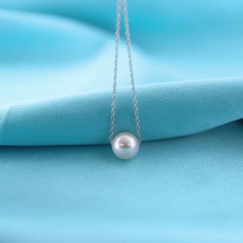 14k Rose Gold Rope Chain 8mm White Freshwater Cultured Pearl Necklace, 13""