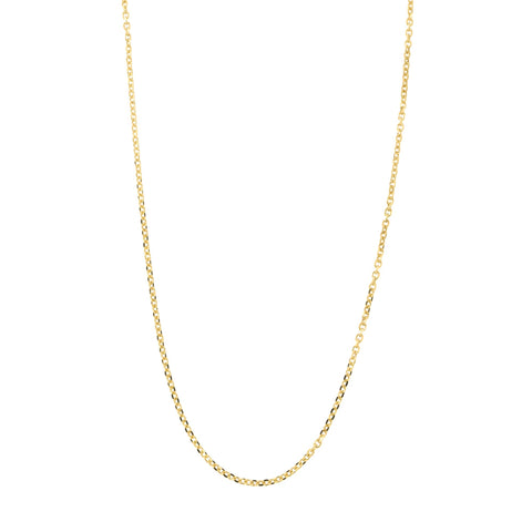Solid 14k Yellow Gold Italian 0.85mm Diamond Cut Cable Chain Necklace, 12""