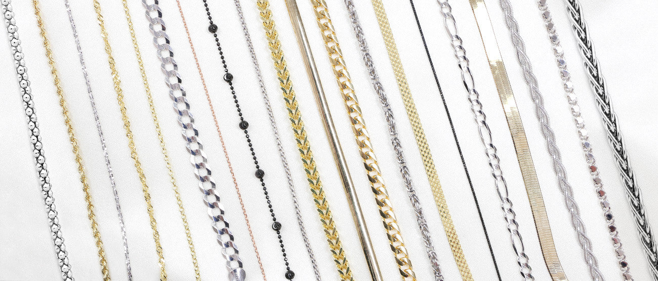 A variety of chains that we offer, along with their types in sterling silver, 10k and 14k white, yellow and rose gold.
