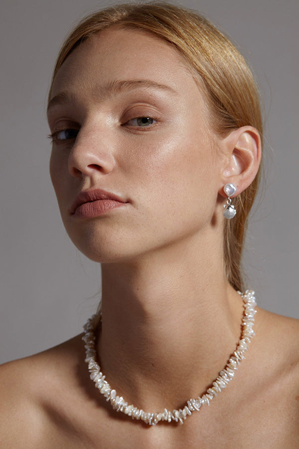 Shop the Petite Seashell and Pearl Earrings now at The Annex.