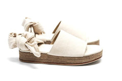 The Wrap Espadrille- Crema Denim