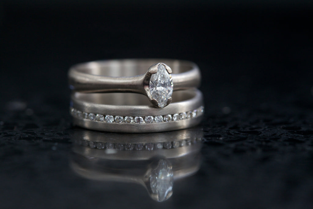 18ct White Gold Marquise Diamond Engagement ring and Eternity ring