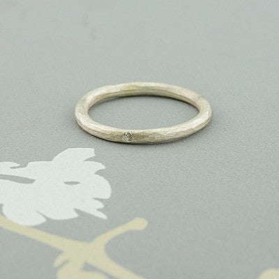 Hammered Dainty ring with diamond