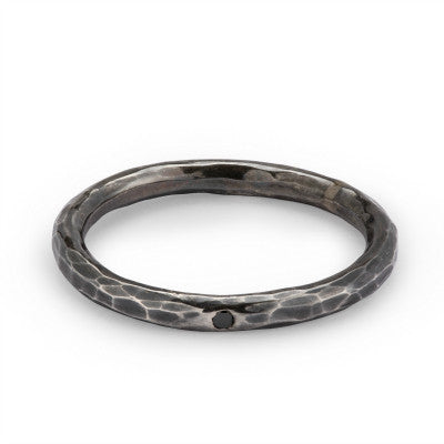Hammered Dainty ring oxidised silver with black diamond