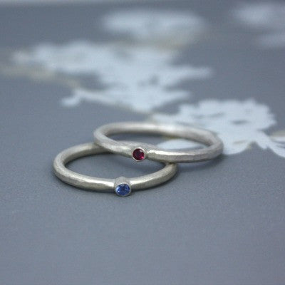 Hammered Ring with Blue sapphire or Ruby