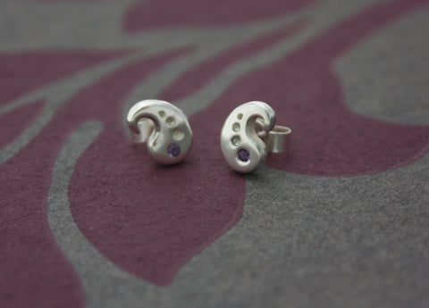Silver and Amethyst ear studs