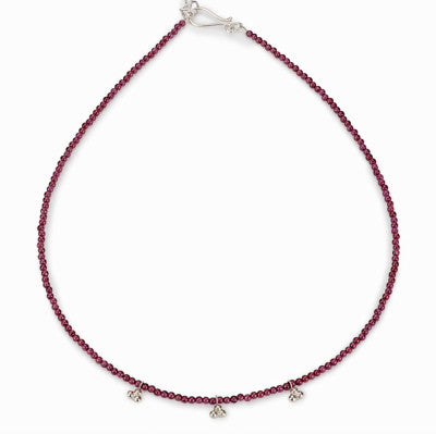 India 3 piece silver and garnet necklace