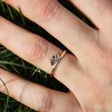 India Flick ring in 9ct yellow gold with Marquise Garnet