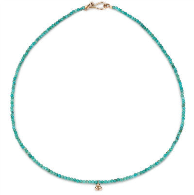India necklace with 9ct rose gold drop and turquoise beads