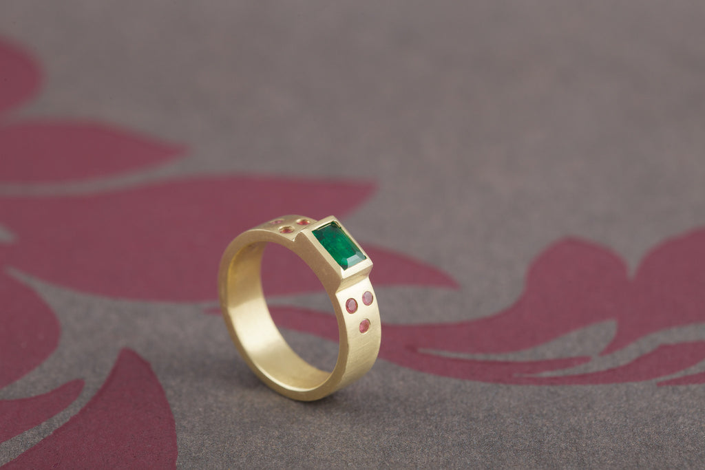 18ct Yellow Gold ring with Emerald and Pink Tourmalines