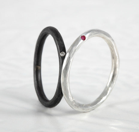 Hammered Rings with Flush Set Gemstones