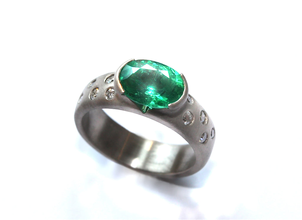 18ct White Gold, Emerald and Diamond Engagement ring
