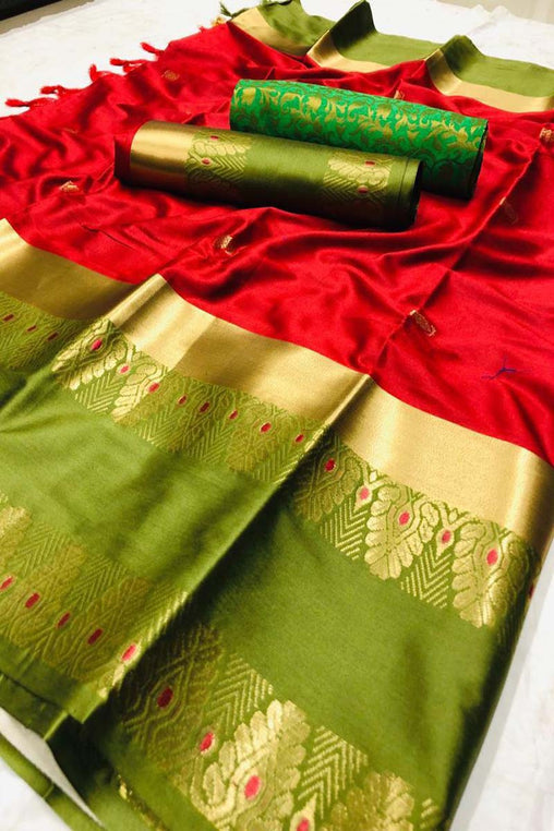 RED GREEN BORDER JEQAURD COTTON SILK SARI WS-8037
