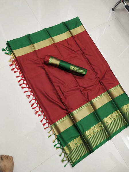 Dapper Red and Green Color Soft Silk Designer Saree ws-4042