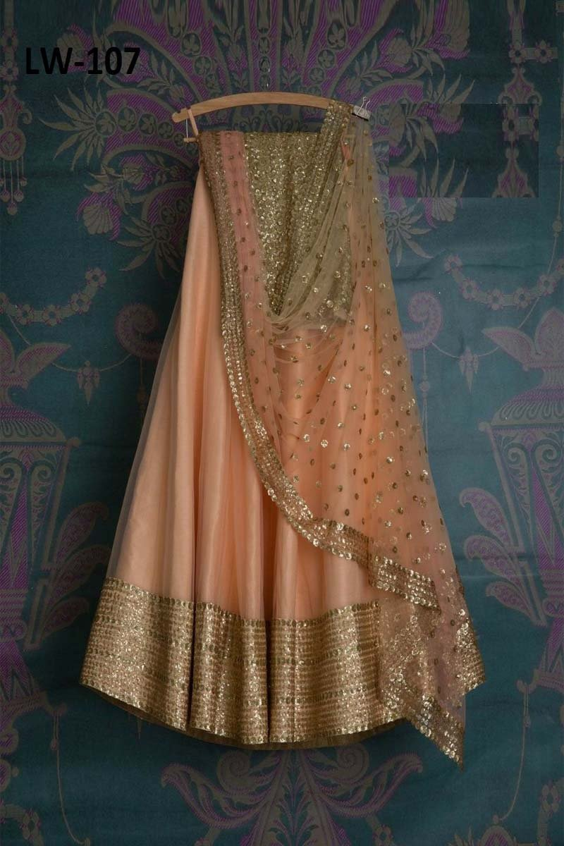 SHINY CREAM COLOR DESIGNER LEHENGA CHOLI WS-107