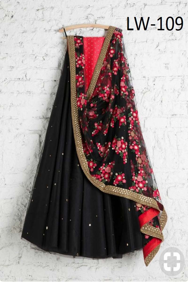 BLACK-RED COMBINATION DESIGNER LEHENGA CHOLI WS-109