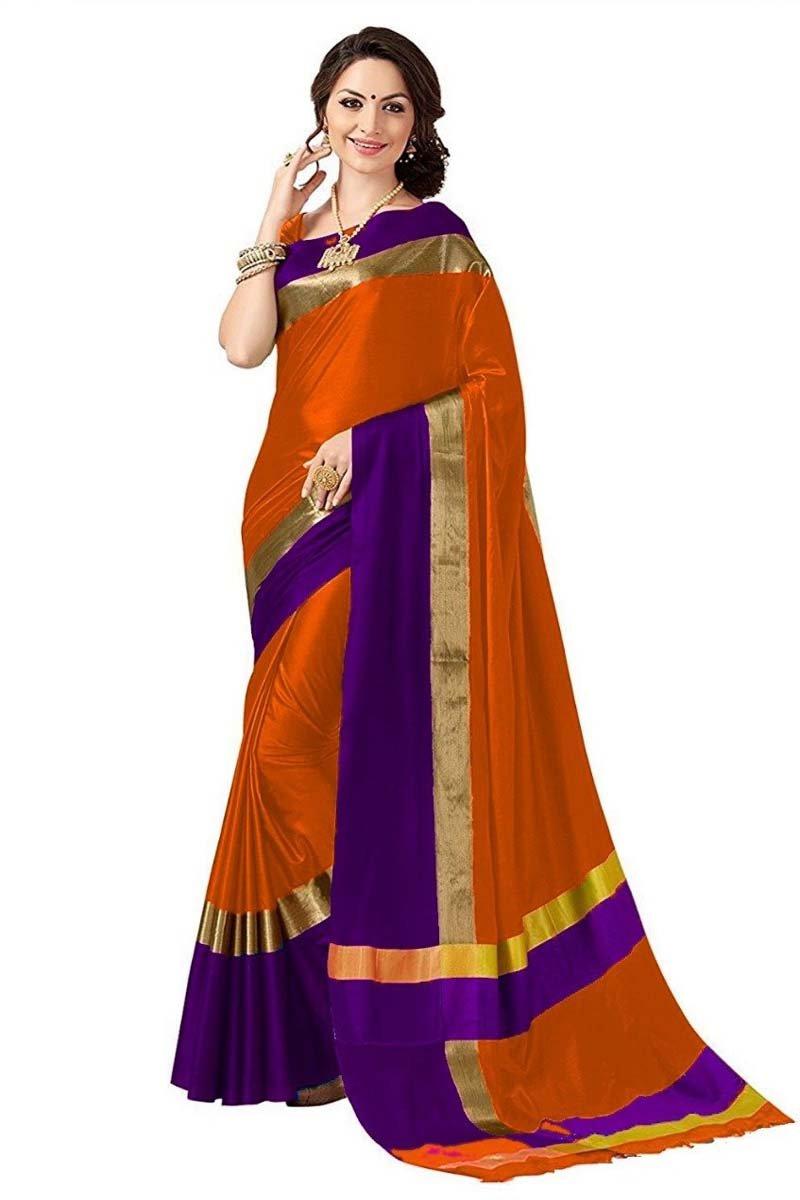 Orange And Purple Cotton Silk Saree