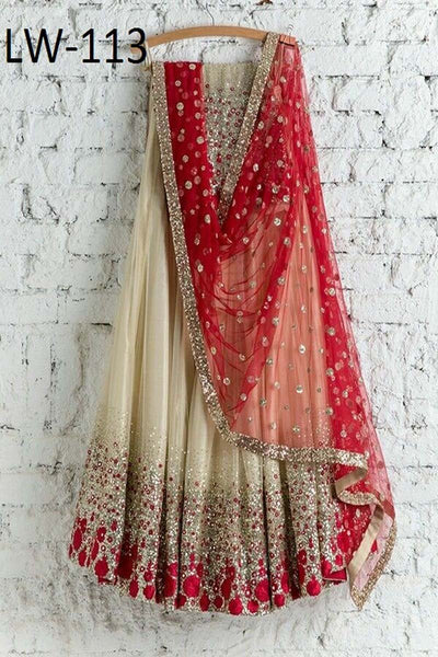 DULL WHITE COLOR DESIGNER LEHENGA CHOLI WS-113