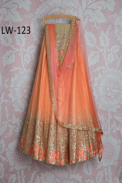 BRIGHT ORANGE COLOR DESIGNER LEHENGA CHOLI WS-123