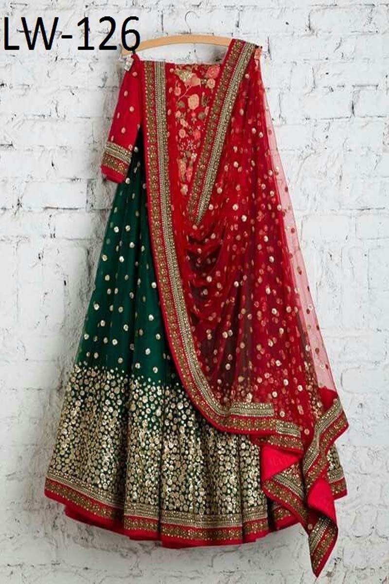 GREEN COLOR DESIGNER LEHENGA CHOLI WS-126