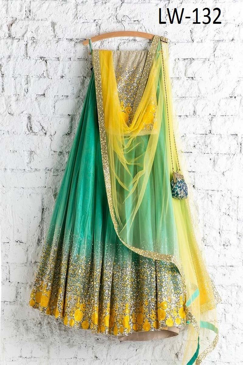 SEA GREEN-YELLOW COLOR DESIGNER LEHENGA CHOLI WS-132